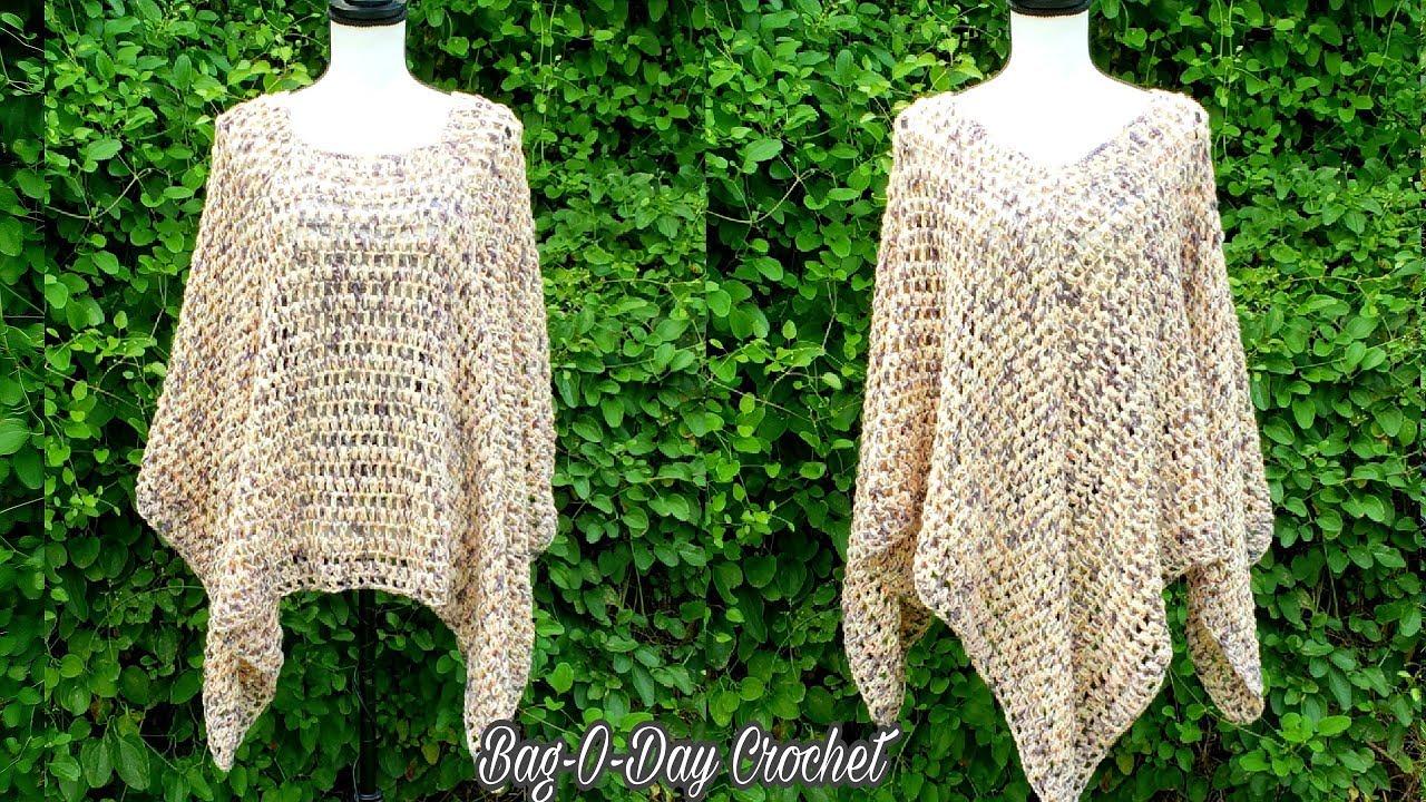 Ladies/' Crocheted Poncho