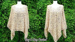 HOW TO CROCHET A LADIES PONCHO | PEBBLES IN THE SAND | BAGODAY CROCHET TUTORIAL #505