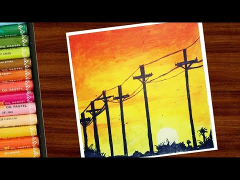 Easy oil pastel Drawing for beginners/painting/Street light in sunset/SAS Creations