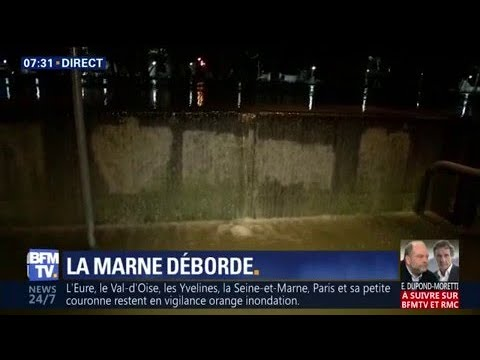En Seine-Saint-Denis, la Marne déborde et franchit les murs anti-crue
