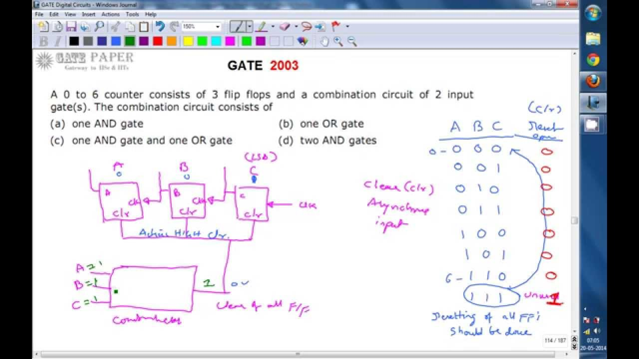 Gate 2003 Ece Decoding Logic For Mod 7 Asynchronous Counter With Synchronous Sequential Circuit Jk Flipflops Example 85 Active High Clear
