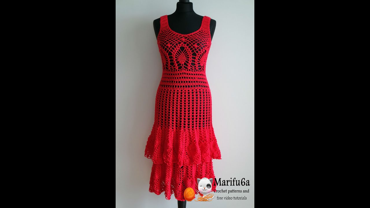 How to crochet red pineapple dress all sizes pattern by marifu6a how to crochet red pineapple dress all sizes pattern by marifu6a youtube ccuart Images