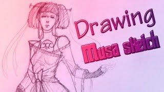 Drawing Musa sketch\Рисуем набросок Музы