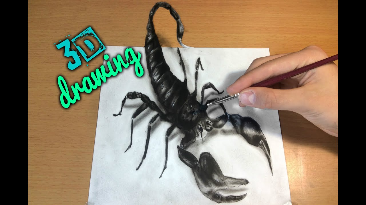 3D Scorpion Drawing/AMAZING realistic illusion! How to ...