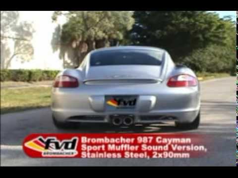 FVD Brombacher 987 Cayman Sport Muffler Sound Version, Stainless Steel, 2x90mm tips