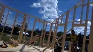 День 9. сборка внутренних стен.  Строительство каркасного дома.