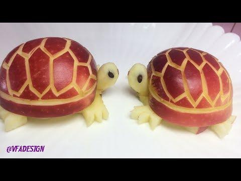Artistic In Apple Turtles Carving Garnish - Fruit Carving Garnish Party Food Decoration.