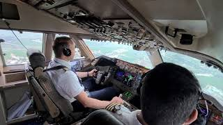 BOEING 747  'The queen of the sky' is LANDING ✈ (Cockpit view + Radio communication )
