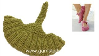 How to knit the slippers in DROPS 189-22