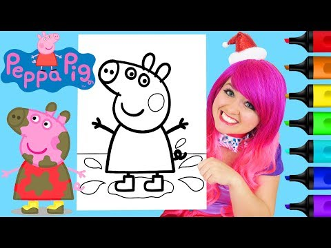 Coloring Peppa Pig Muddy Puddles Coloring Page Prismacolor Colored Paint Markers | KiMMi THE CLOWN