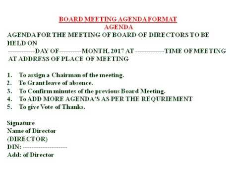 BOARD MEETING AGENDA FORMAT - YouTube