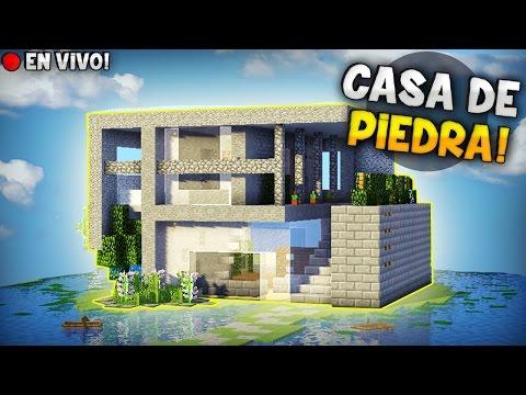 Minecraft en vivo como construir una casa hermosa 100 de for Como construir una casa de piedra