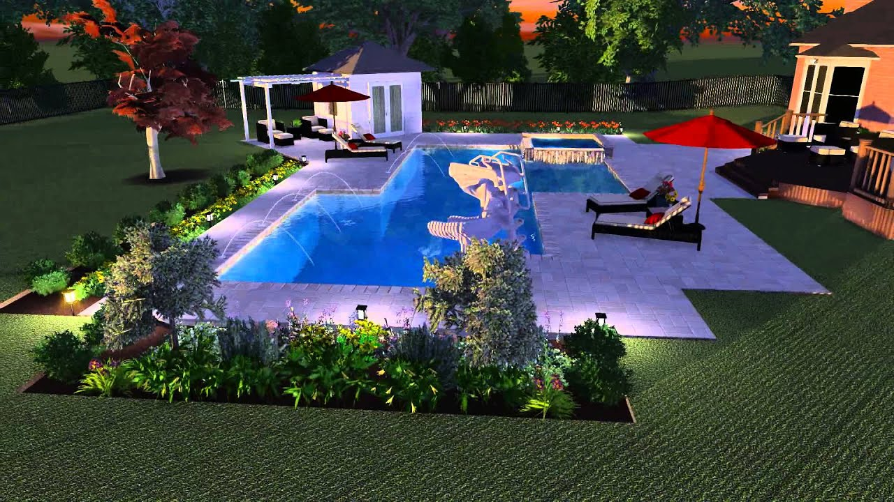 Inground pool design landscape and construction project for Pool and landscape design
