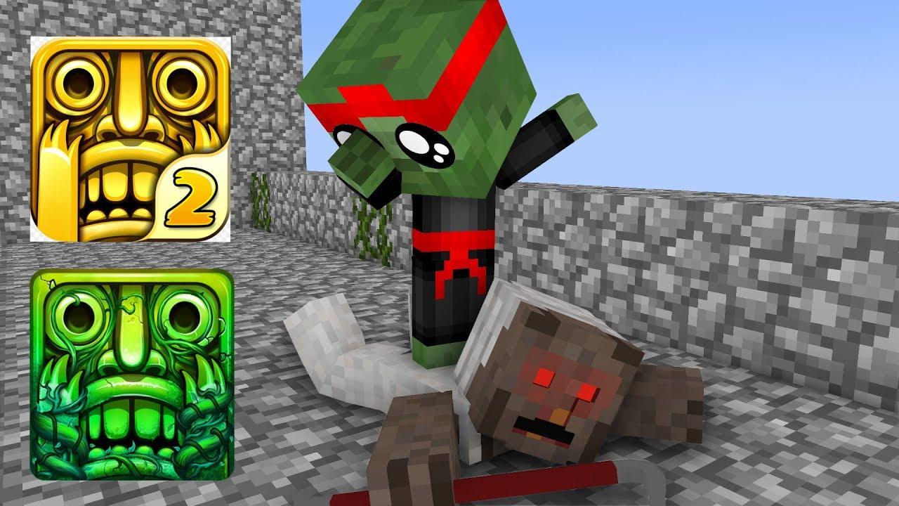 Monster School : GRANNY VS BABY MONSTER TEMPLE RUN CHALLENGE - Minecraft Animation