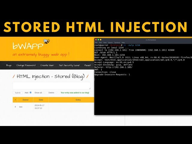 bWAPP - HTML Injection - Stored (Blog)