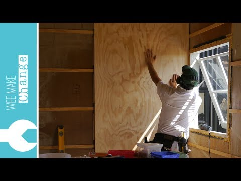 "How to Line Walls and Ceiling with Plywood ""Tiny House Project"""
