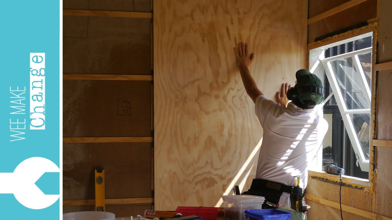 How to line walls and ceiling with plywood tiny house project