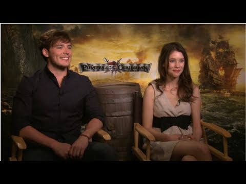 Sam Claflin and Astrid BergèsFrisbey Talk Pirates and Working With Penelope and Johnny