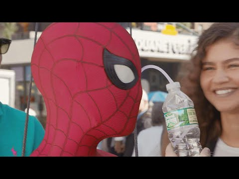 Watch Tom Holland Drink Water Through His Eye On Spider-Man Set