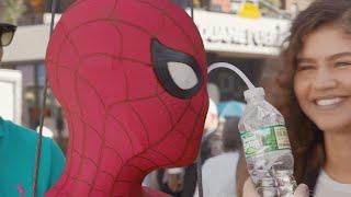 Watch Tom Holland Drink Water Through His Eye on Spider-Man Set
