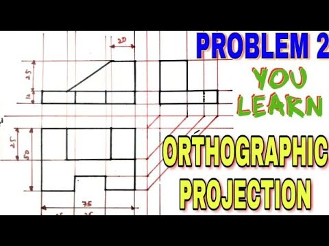 Orthographic projection problem in hindi,based on first angle projection,you learn