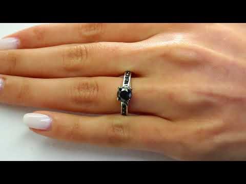 1 3/5 CTW Round Cut Black Diamond Channel Set Engagement Ring in 10K White Gold (MDR160009)