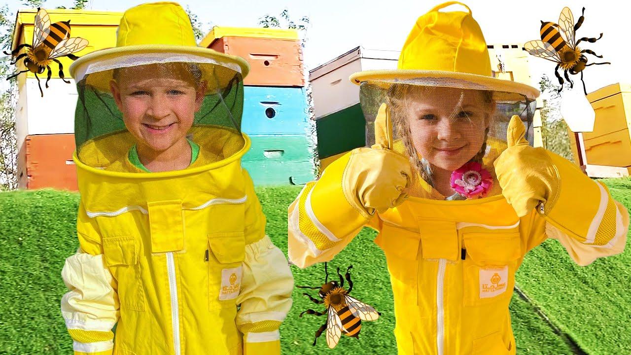 ダイアナとローマ、ハチについて学ぶ。HATTAハニービーガーデンのツアー。楽しい家族旅行
