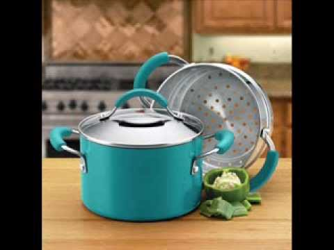 aluminum nonstick 3 quart covered saucepot with stainless steel steamer pot with steamer insert. Black Bedroom Furniture Sets. Home Design Ideas
