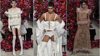 Мужская одежда в платьях при Трампе в Нью Йорке на неделе моды