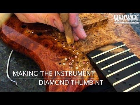 MAKING THE INSTRUMENT - Warwick Thumb NT with diamonds - Bubinga Burl Body #18-3816
