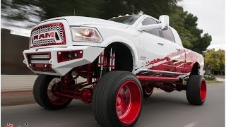 Completely Custom SEMA 2016 RAM lifted on BAGS on 26s Specialty Forged wheels.