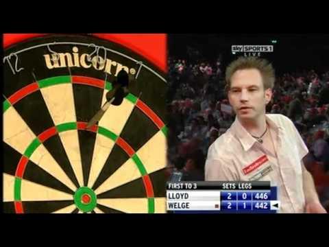 Colin Lloyd punches a Dart Board - 2011 PDC World
