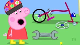 Peppa Pig English Episodes | Peppa Pig's Bike Has a Flat Tyre  | Cartoons for Kids