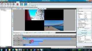 Split-screen video using VSDC free video editor.