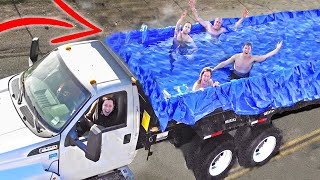 Hot Tub in a Dump Truck (Almost Fell Out)