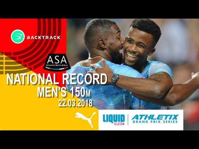 THE AMAZING Anaso Jobodwana takes the 150m against USA's Justin Gatlin
