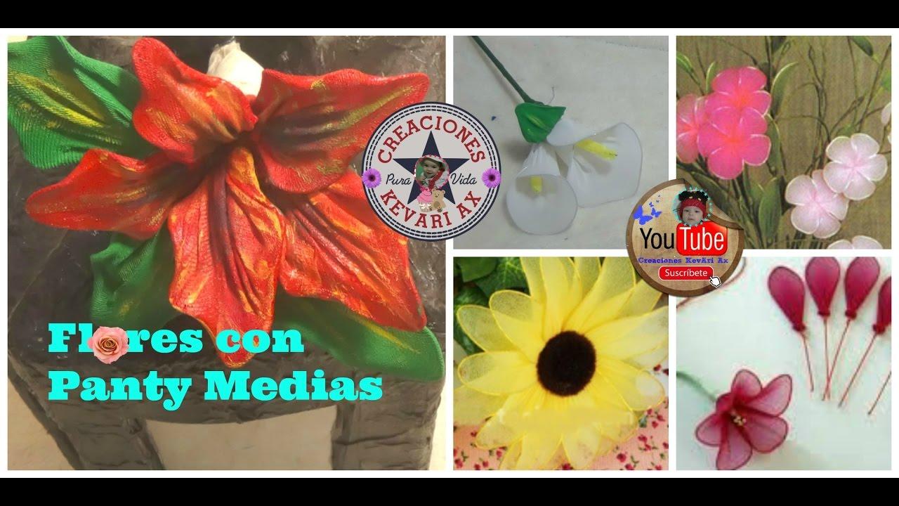 Flores con Panty Medias de Nylon o veladas/Flor de Nochebuena,Cala,rosa  girasol/D.I.Y Nylon Flowers - YouTube