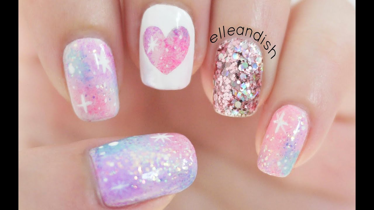 Pink Galaxy Nails - YouTube