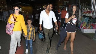 Kajol & Ajay Devgan Wid Family Daughter Nysa Devgan & Son Yug Devgan @Mumbai Airport