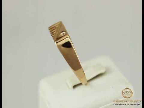 Золотой перстень мужской с фианитом 026561