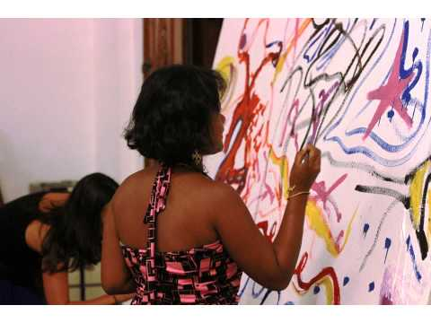 Collaborative Painting at the Bali Center for Artistic Creativity
