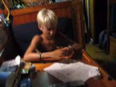 Antoine's Math Lesson / homeschooling aboard Calou
