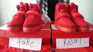 Air Yeezy 2 Red October fake and real