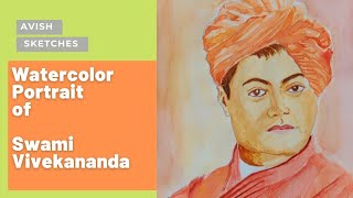Watercolor Portrait of Swami Vivekananda| AVish Sketches