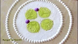 New and easy rangoli design using 3 colours l rangoli designs with colours l रंगोली डिजाइन rangoli