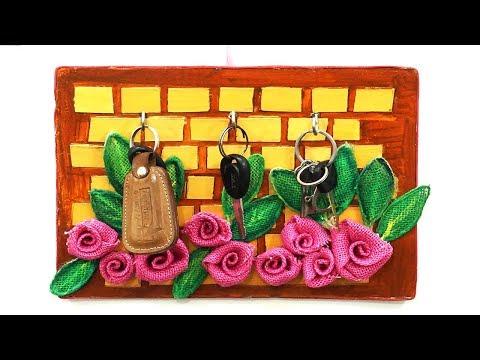 Amazing DIY Key Holder from Jute & Waste Cardboard || Handmade Home Decoration Wall Hanging Ideas