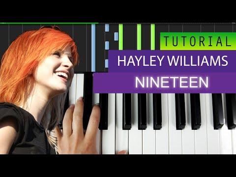 Hayley Williams - Nineteen - Piano Tutorial / Karaoke + MIDI