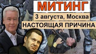Смотреть видео Митинг 3 августа, Москва. НАСТОЯЩАЯ ПРИЧИНА онлайн