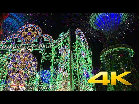 [Singapore Walk][4K] Gardens By The Bay Christmas Lights and Marina Bay Sands