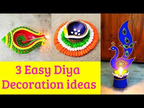 DIY: 3 Easy & Beautiful Diya Decoration for Competition   Diwali Decoration Ideas 2019